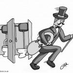 Gentleman stealing the toilet seat